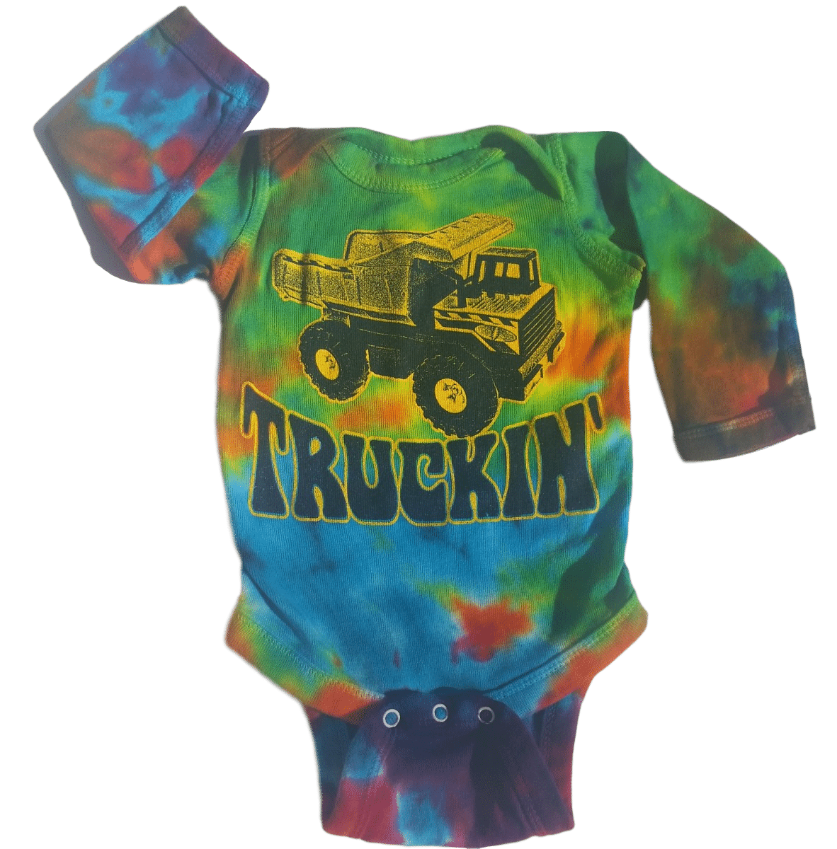 fed8d8357 LONG SLEEVE Truckin' infant tiedye baby onesie romper - Grateful ...