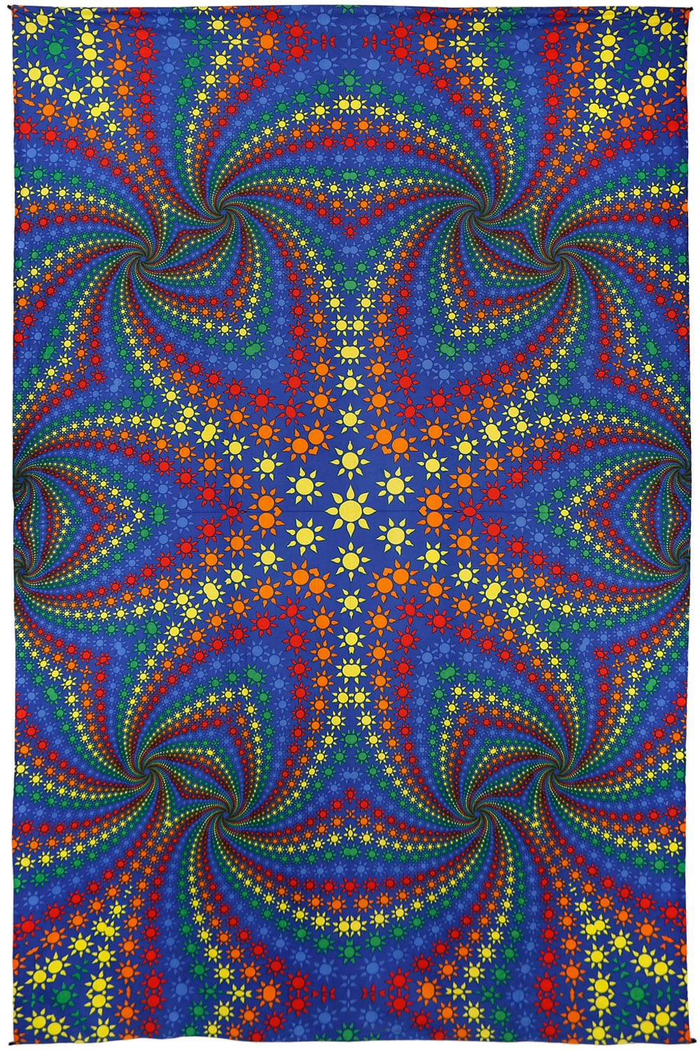 3d Twisted Rainbow Suns Tapestry Psychedelic Hippie Art
