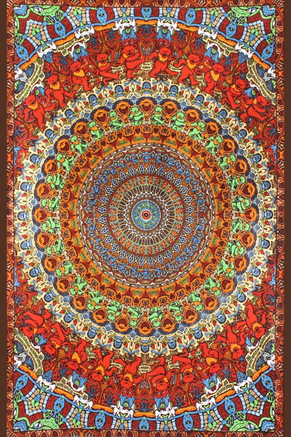 3d Grateful Dead Tapestry Red Dancing Bear Vibration Includes Free 3d Glasses Uncle John S Outfitters