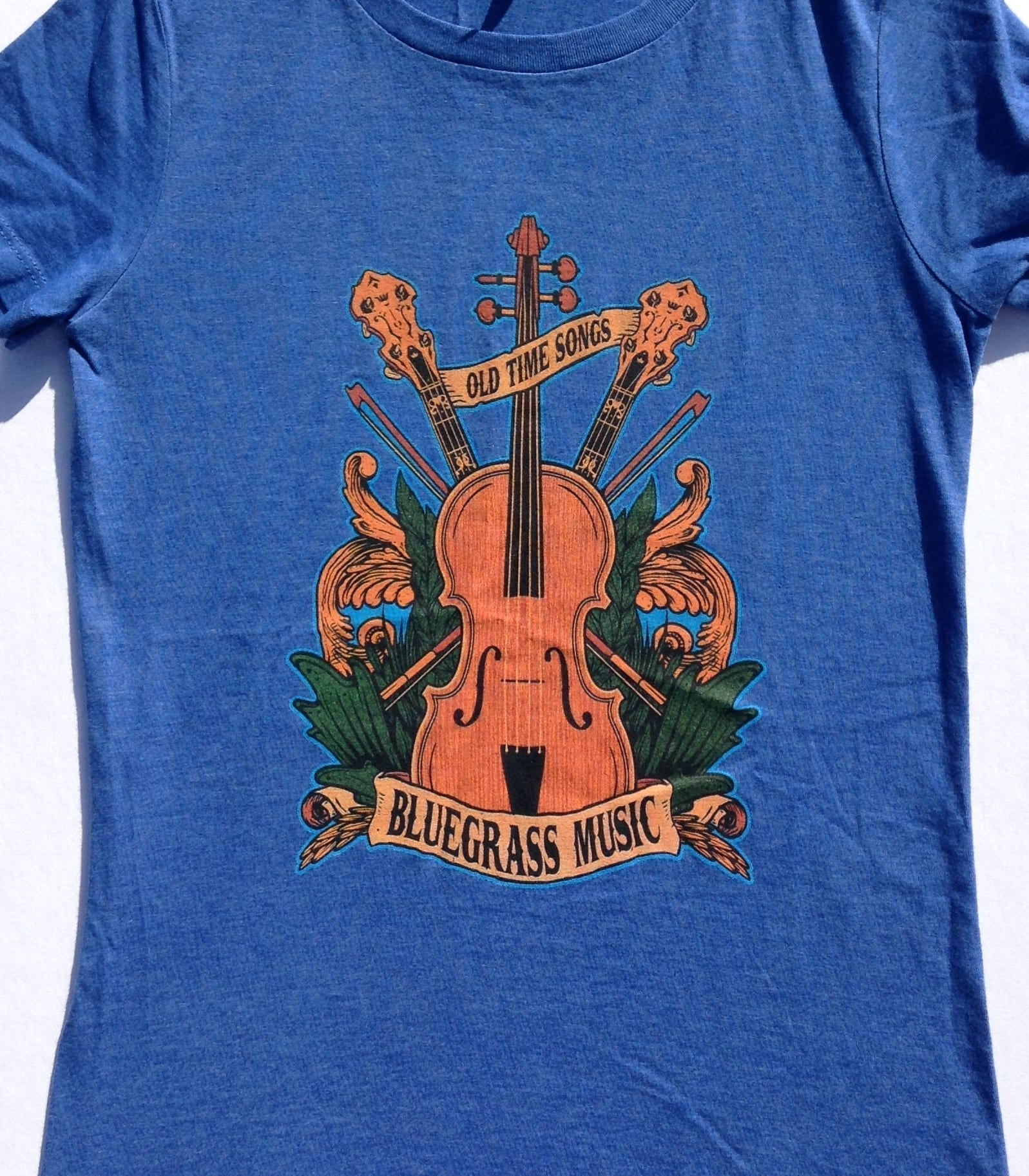 70db48b5 LADIES Bluegrass fan Old Time Songs blue fitted tee shirt - country ...