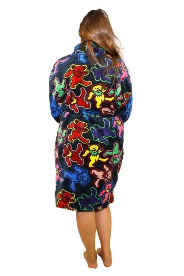 Grateful Dead plush black robe with large dancing bears
