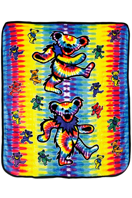 Rainbow Dancing Bears Fleece Blanket Licensed Grateful Dead Throw Gorgeous Grateful Dead Throw Blanket
